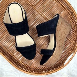 Marc Fisher Suede Shelbee Leather Wedge Sandals